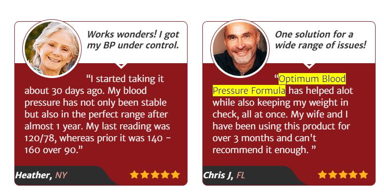 Optimum Blood Pressure Formula Pills Reviews - Customers Testimonials