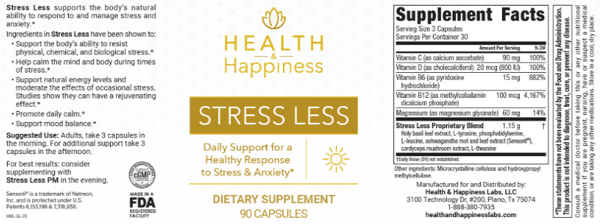 Health and Happiness Stress Less Ingredients List